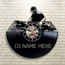 DJ Name Here Vintage 12″ Vinyl Record Wall Clock