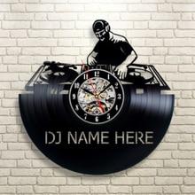 DJ Name Here Vintage 12″ Vinyl Record Wall Clock