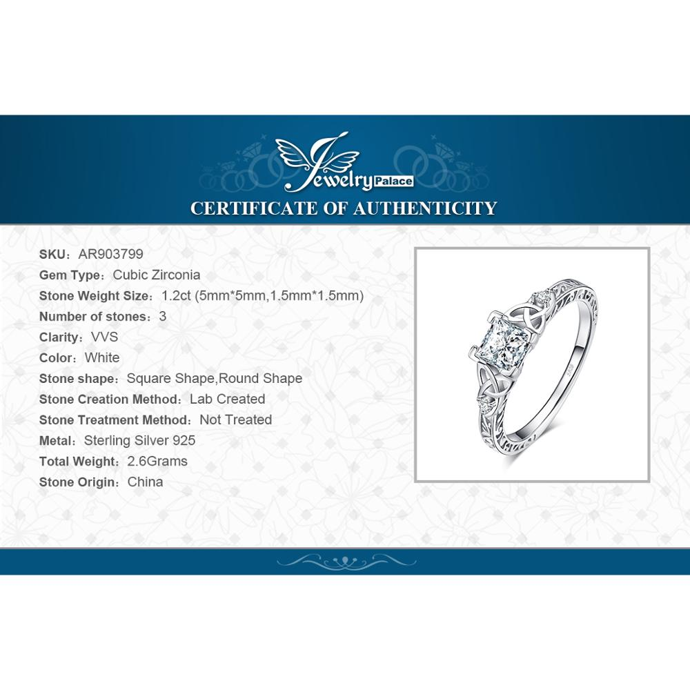 JPalace Celtic Knot Princess CZ Engagement Ring 925 Sterling Silver Rings for Women Anniversary Wedding Rings JPalace Celtic Knot Princess CZ Engagement Ring 925 Sterling Silver Rings for Women Anniversary Wedding Rings Silver 925 Jewelry