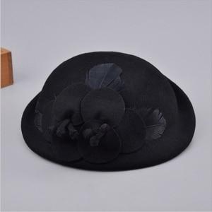 Image 5 - 2018 Autumn and Winter Lady Party Formal 100% Wool Felt Hats Women Flower Woolen Beret Caps
