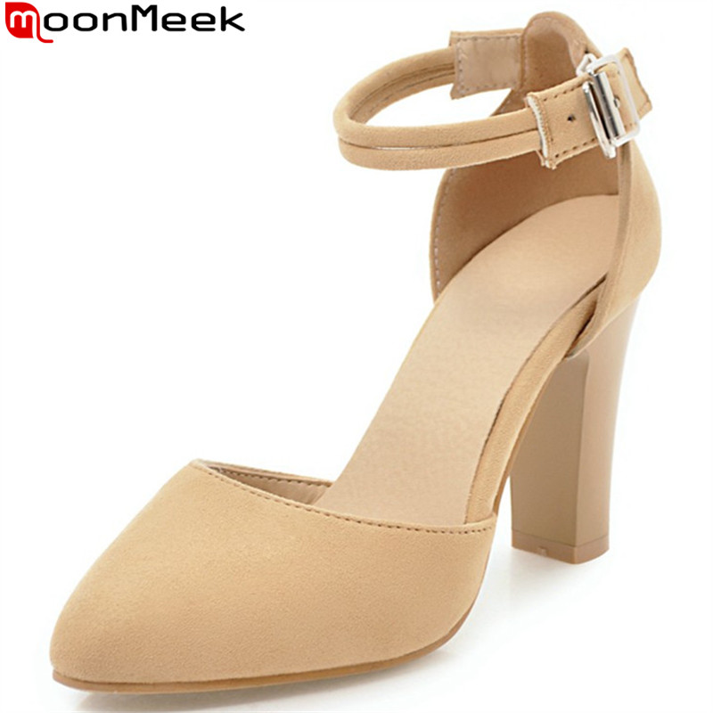 MoonMeek black pink fashion pointed toe buckle pumps shoes woman thick heel women flock high heels shoes plus size 33-46 summer new pointed thick chunky high heels closed toe pumps with buckle ankle wraps sweet sandals women pink black gray 34 40