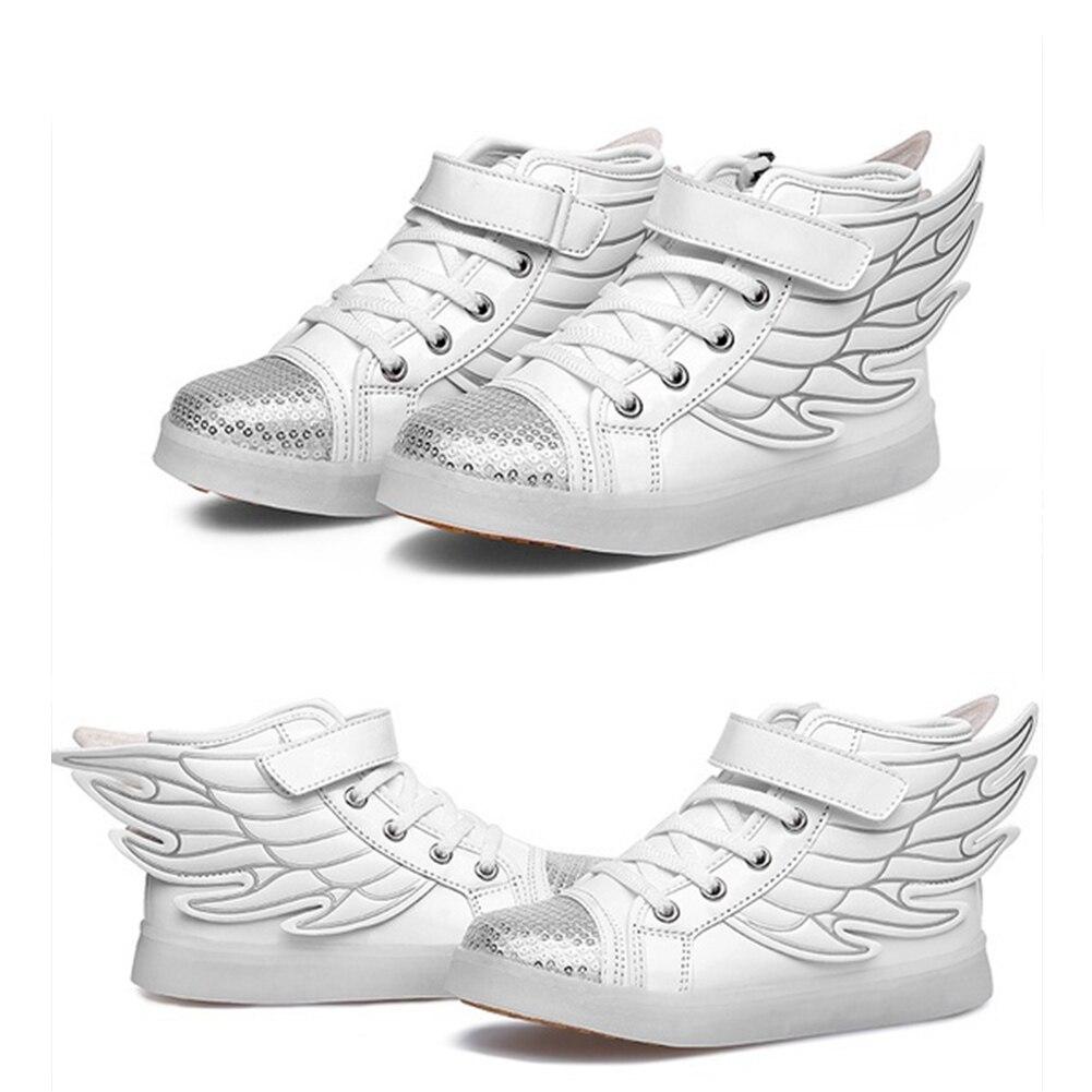 Boy Girls USB LED Light up Sneakers Wings children's Kids Shoes