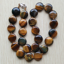 2017 new fashion hot selling good quality natural tiger eye stone round shape beads pendants & necklace jewelry free shipping