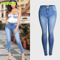 2018 женская одежда середины талии плотно вышитые вспышек Потертая джинсовая ткань узкие брюки женские повседневные Модные Узкие Хлопковые