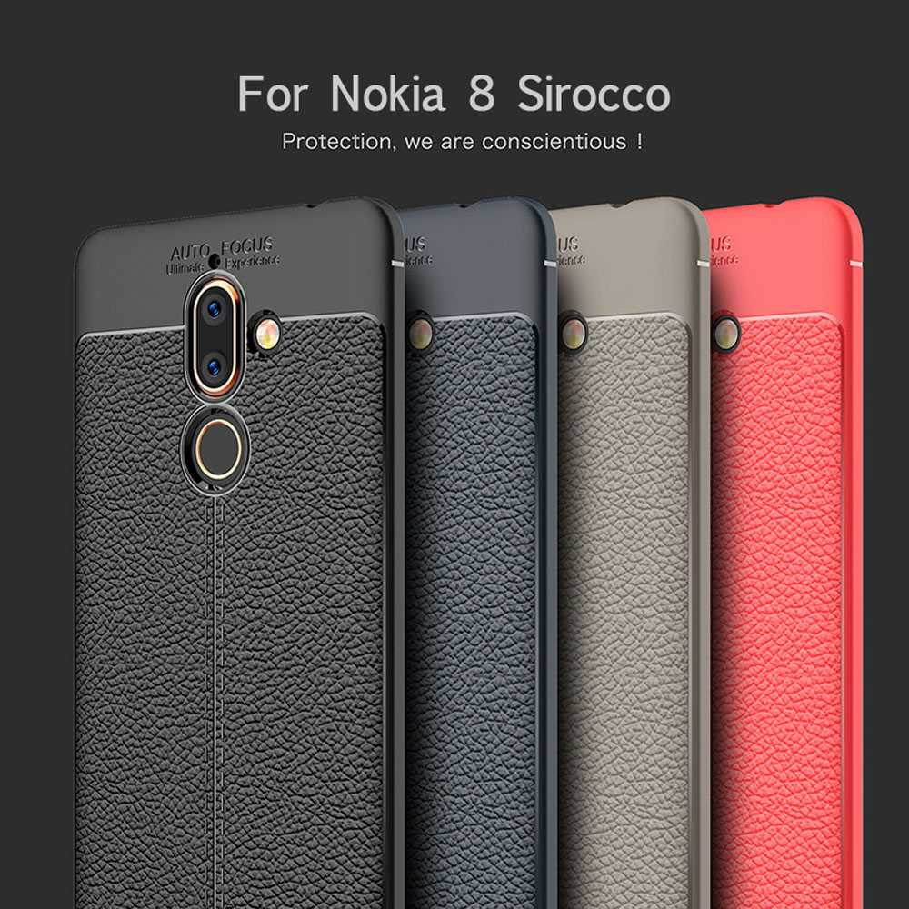 For Nokia 8 Sirocco Case litchi Pattern Shock Proof Soft Silicone TPU Case For Nokia 8 Sirocco For Nokia8 Sirocco Phone Cover