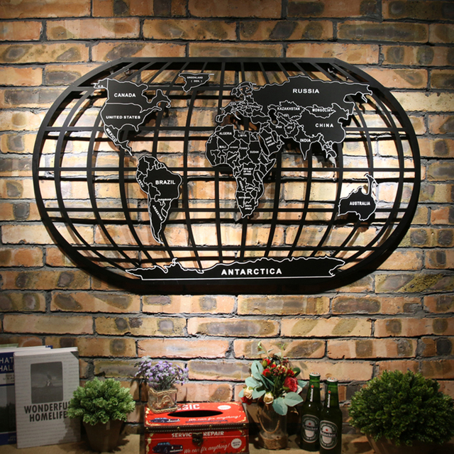 World map black metal wrought iron rack art wall decor wall world map black metal wrought iron rack art wall decor wall sculpture dh0106 gumiabroncs Image collections