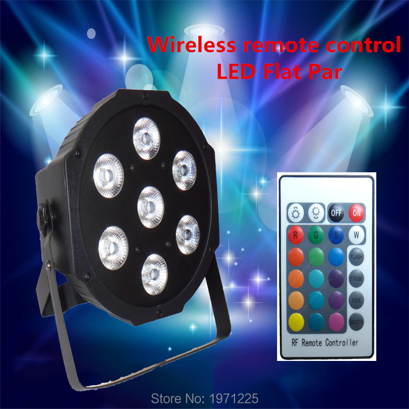 ФОТО (4pcs) Wireless remote control led Luxury DMX 7 Channels Led Flat Par Light 7x9W RGB 3IN1