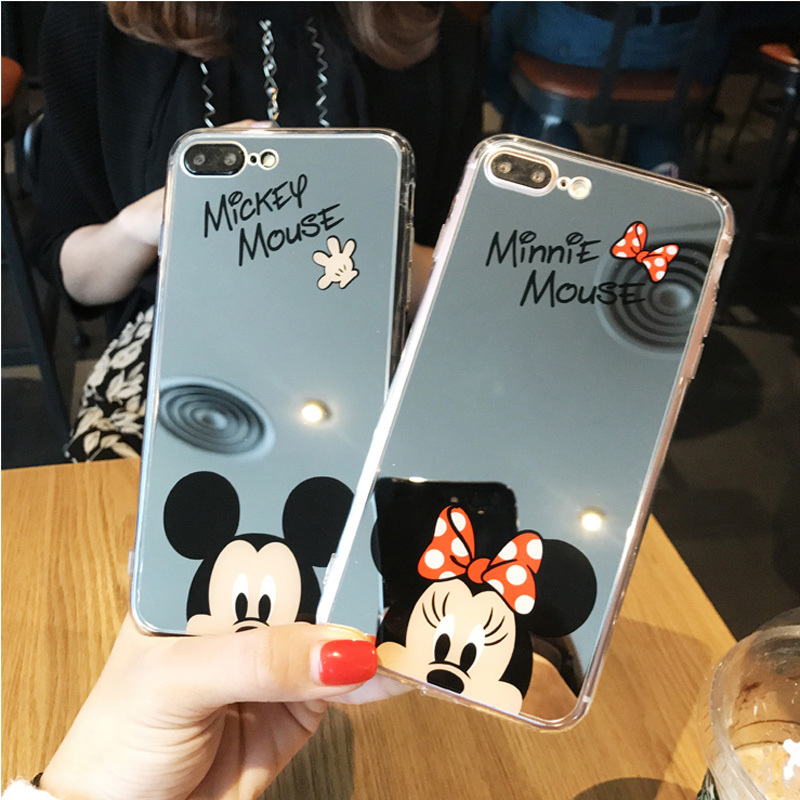 High Quality Phone Case For iPhone X Plating Phone Cases For iPhone 8 7 6 6s Plus 5 SE 5S Mickey Minnie Mirror Cover TPU Casing