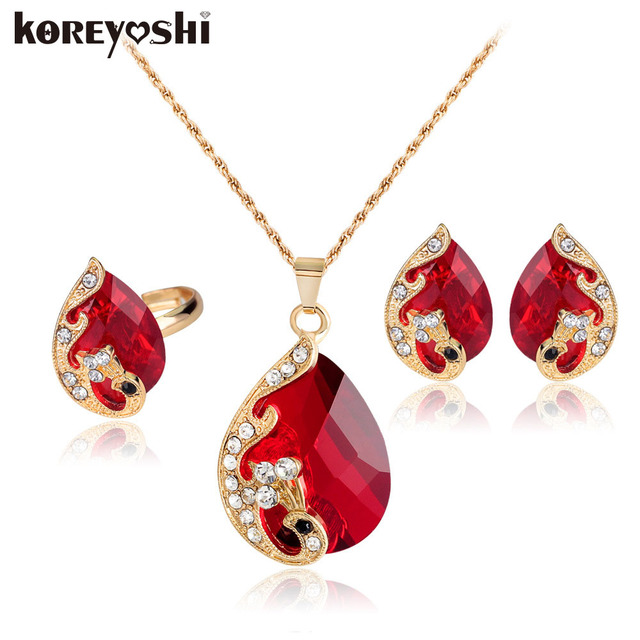 jewelry sets High-grade 5 colour crystal peacock fine red jewelry sets bride wedding necklace ohrringe set parure bijoux femme
