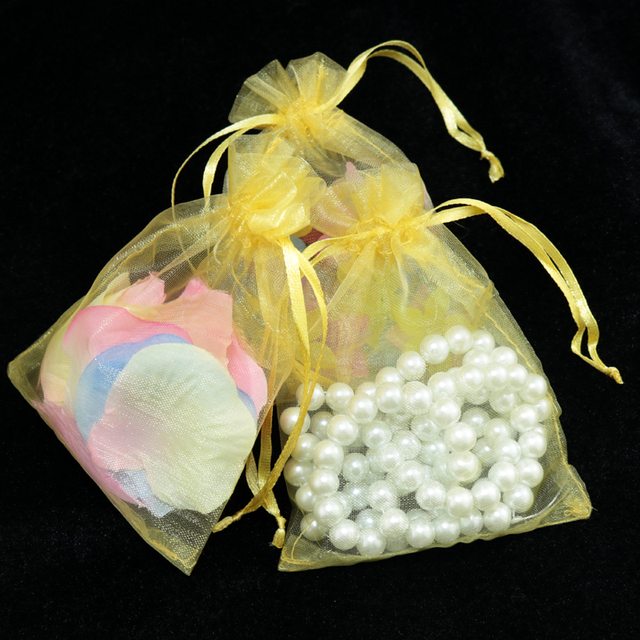Whole 500pcs High Quality 17x23cm Large Organza Bag Gold Color Wedding Gift Candy Bags Jewelry Package