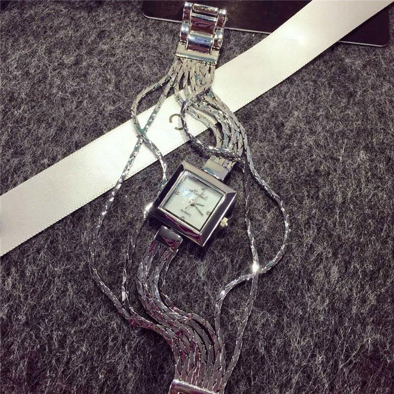 ФОТО 2016 Hot Sales Women Fashion Watches Tassel Lady Dress Watch Square Rose Gold Silver Bracelet Wristwatches Ladies Female Watch