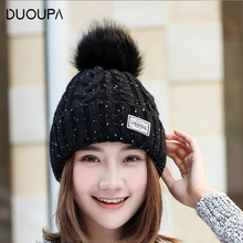 Autumn and Winter Korean Alphabet Knitted Cap Outdoor Warm Tile Madam Fashion Fur Ball Sticker