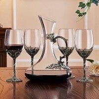 Творческий эмаль вина стекло классический Кубок кристалл бар набор 4 12 унц../Винные бокалы 350 1x52 унц. Ц./1500 мл графин
