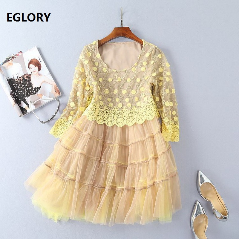 Cute Ball Gown Dress 2018 Spring Party Princess Ladies Yellow Floral Embroidery Mesh Patchwork Sweet Lolita