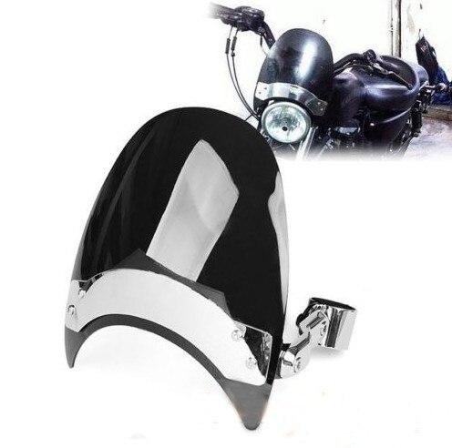 New Black Dark Tint For Harley Sportster 38-45mm Motorcycle Windscreen Windshield FM