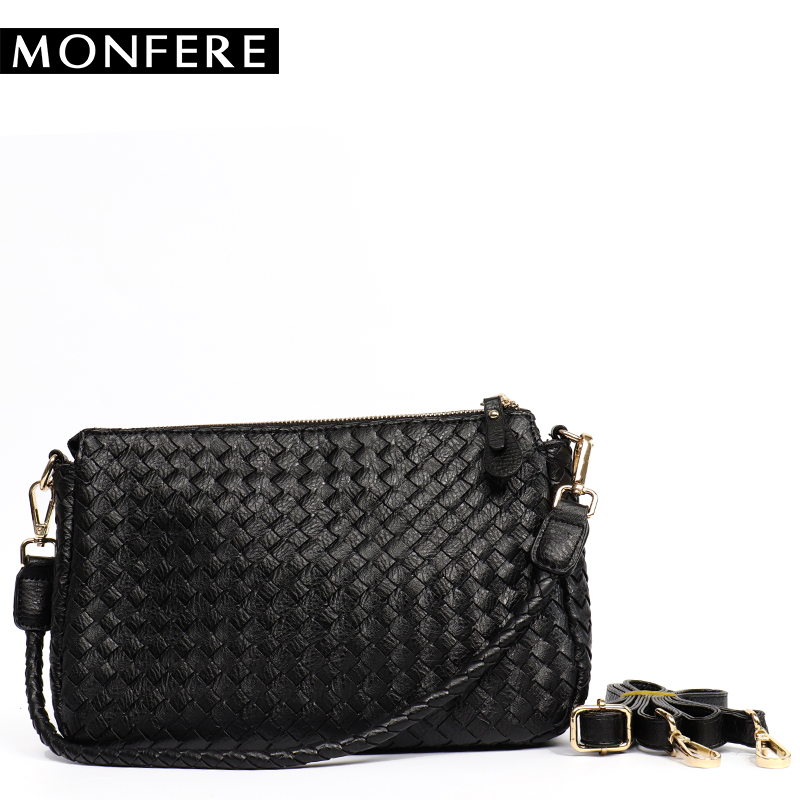 MONFERE Women Shoulder Bag Designer Handbags High Quality Woven PU Leather Ladies Messenger Bag Fashion Crossbody Bags 2 Straps 2016 new women leather handbags fashion shoulder bag high quali women s messenger bags ladies crossbody bag clutch wallet 2 sets
