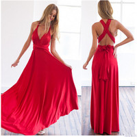 Hot Sell Sexy Women Boho Maxi Club Dress Red Bandage Long Dress Party Multiway Bridesmaids Convertible