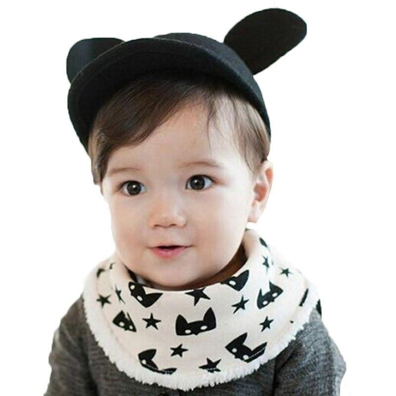 Кнопка Стиль для маленьких мальчиков нагрудники плюс бархат Кот детские нагрудники животных Водонепроницаемый Star хлопковый шарф нагрудни...