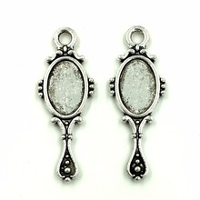 30Pcs Tiny Antique Silver Tone Vanity Mirror Charms Pendants Jewelry Making 28x10mm