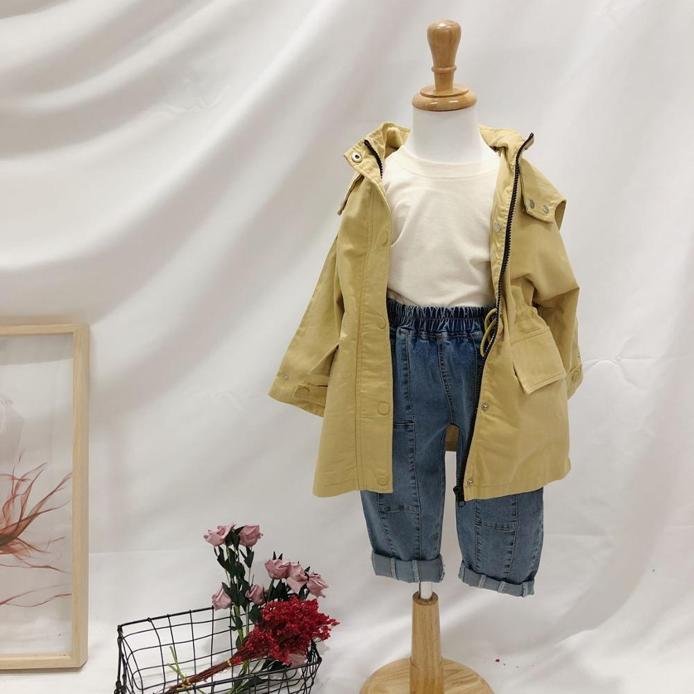 2019 Spring New Girls Solid Color Casual   Trench   Coat