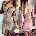 2017 Мода Весна Осень плюс размер Женщин Dress Длинным Рукавом V-образным Вырезом Sexy Dress Stretch Bodycon Платья Повседневная Одежда Vestidos