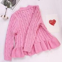 fashion New Autumn Children Clothes Cute Knit Flouncing edge Girls cardigan knitting Sweater for Kids Clothing недорго, оригинальная цена