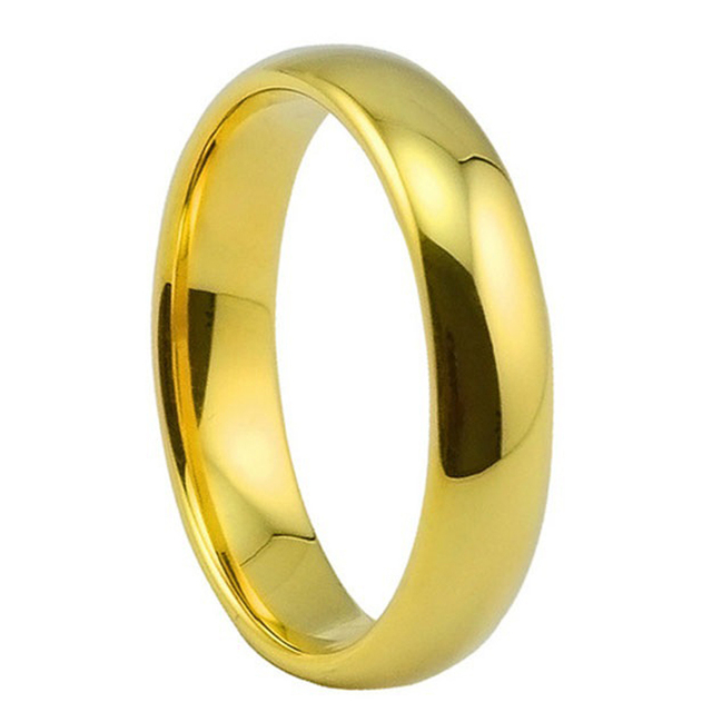 4MM Gold Color Tungsten Carbide Wedding Engagement Band Boy & Girl