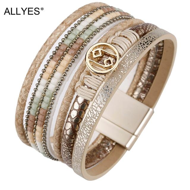 ALLYES Multilayer Bracelets for Women Rope Metal Charm Bohemian Leather Bracelet