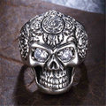 Vintage 925 Thai Silver Jewelry Single Character ICONS Punk Skull Offered Wide Men Forefinger Domineering Fashion Free Shipping
