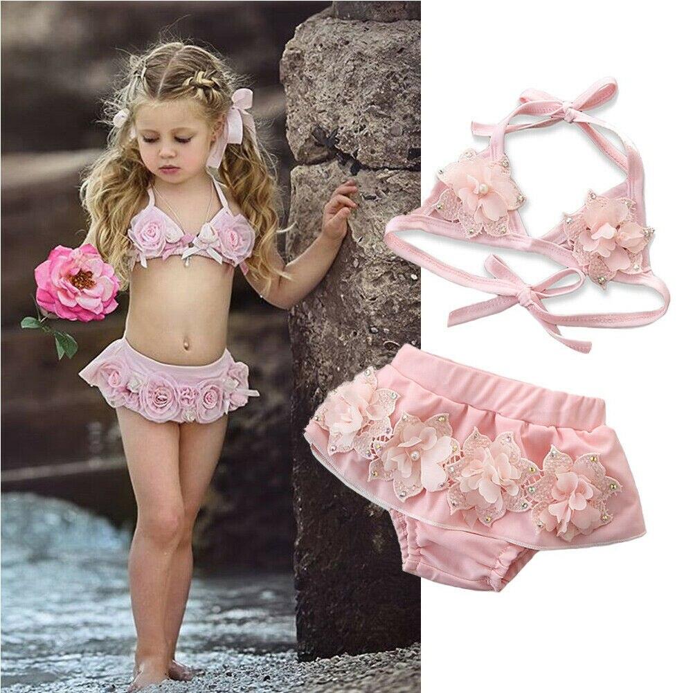 Fashion Summer Baby Girls Lace Tulle 3d Floral Bikini Set Swimsuit Swimwear 1-6years Swimwear