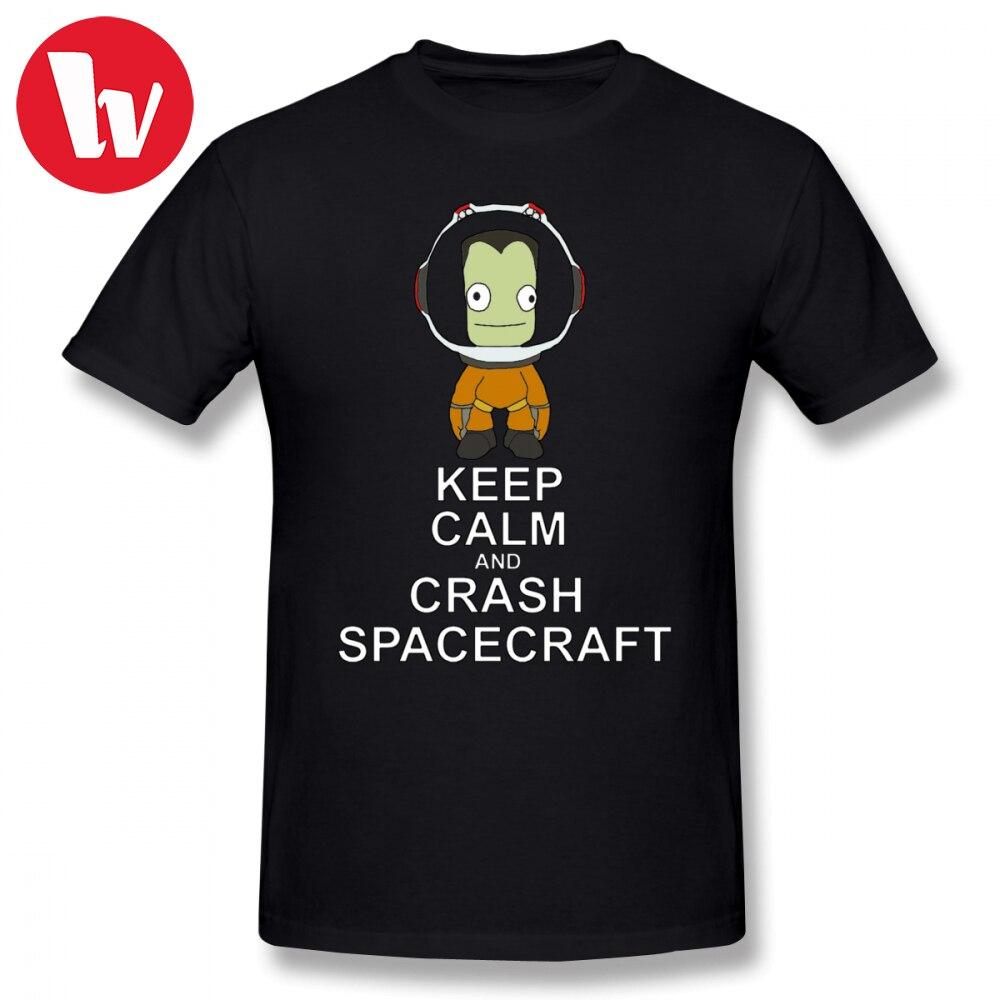 Keep Calm T Shirt Kerbal Space Program T-Shirt Men Cartoon Print 100 Cotton Tee Shirt Plus Size Summer Short Sleeve T Shirts
