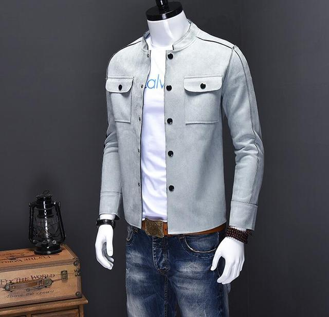 man outwear stand collar coat men solid color plus size Autumn silm fit jackets