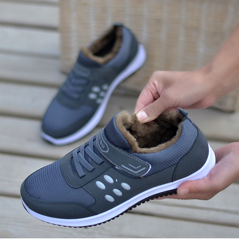 Unisex Winter Boots Women Snow Boots Ankle Fashion Sneakers Plush Warm Flats Shoes Woman Lace-up Non-slip Outdoor Mother Shoes