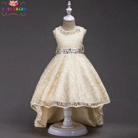 POSH DREAM Gold Flower Girl Dress with Train Sequined Pearl Wedding Party Dress Summer Princess Kids Dresses Clothes Size 3 14y