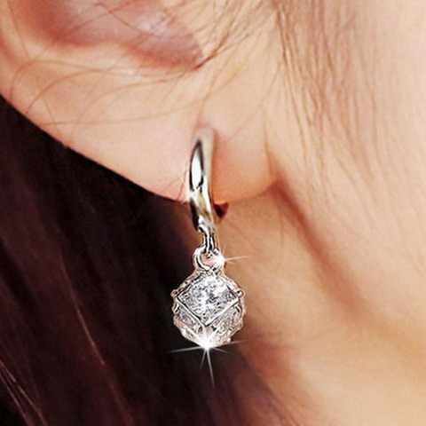 Элегантные синтетические Кристальные серьги-гвоздики в ухо, циркон, нежный шар, винтажные 925 серьги из чистого серебра, милые красивые женские