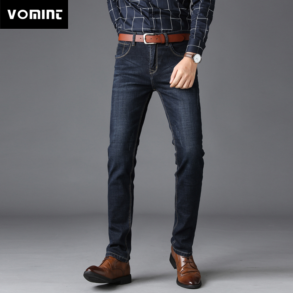 41cd97b26a 2019 New Men s Jeans Business Casual Jeans Regular Fit Straight Leg Stretch  Jeans Long Trousers Elasticity Cotton Big Size 44 46