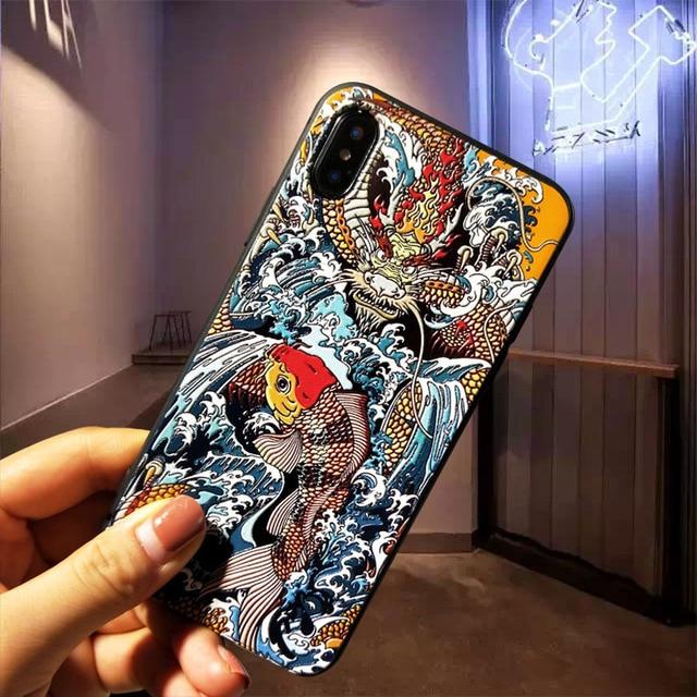 高級 3D エンボス柄物電話ケース iphone 7 ケース iphone × 7 6 6 S 8 プラスケースカバー XS 最大 XR 8 プラス 7 プラス Coque Fundas