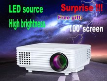 2015  HD Mini LED projector 1080P 2000 Lumens 1.4kg Home Projector and Free gift 100 – inch screen Free Shipping from china