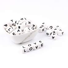 300-1000pc Alphabet Letter Silicone Baby Teething Beads Personalized Name on Pacifier Chain Chewing Beads for Teething Necklace 100pcs teether silicone beads toy russian alphabet bead 12mm english letter chewing beads for teething necklace pacifier chain