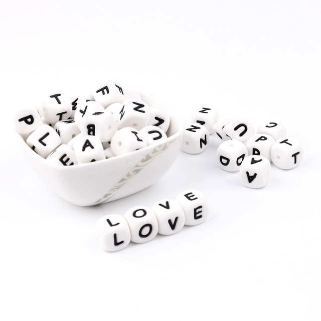 300 1000pc Alphabet Letter Silicone Baby Teething Beads Personalized Name on Pacifier Chain Chewing Beads for Teething Necklace