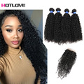 Malaysian Curly With Closure Sexy Formula Hair 4 pcs Kinky Curly Hair With Closure Cheap Curly Bundles With Closure Free Part