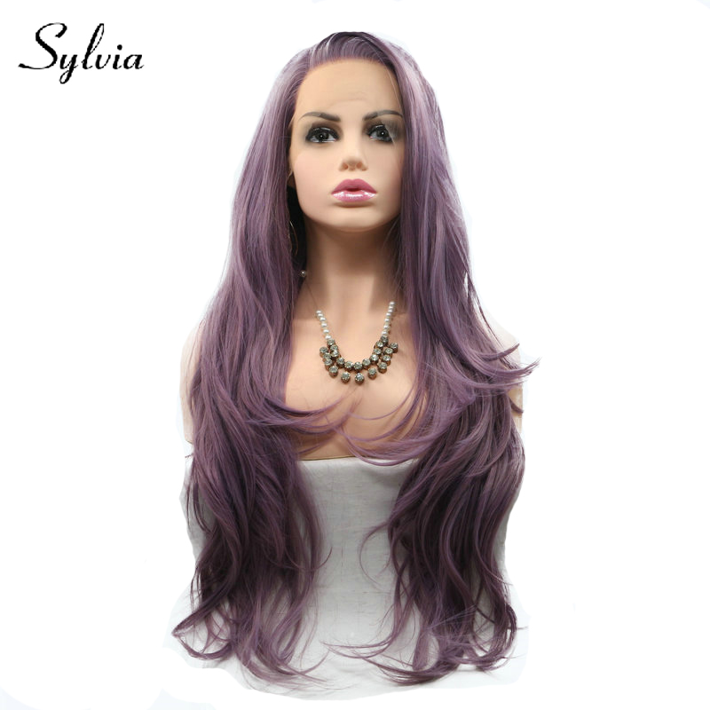 Sylvia mixed purple ombre natural wave synthetic lace front wigs with side bangs heat resistant fiber