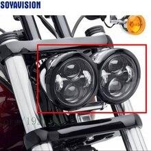 Фары головного света для мотоцикла Harley Dyna Fat Bob 4,5 дюйма одиночный Ближний и Дальний свет для FatBob двойной фары