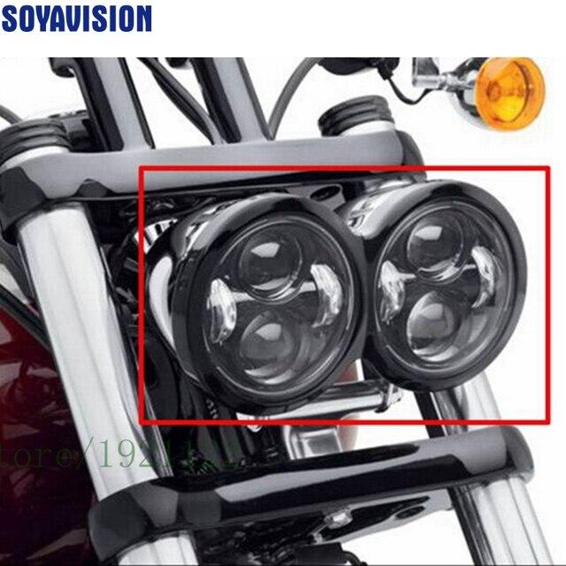 Per Moto Harley Dyna Fat Bob Motore Stile Testa Luci 4.5 pollici singolo basso del fascio e fascio singolo ad alta fascio di fatBob Dual Faro