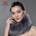 2016 outono e Inverno grosso Lady xailes e cachecóis wraps natural pele de raposa de prata luxo mulheres cachecol pashmina lenço da marca mulheres