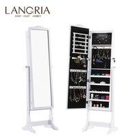 LANGRIA свободно стоящий запираемый шкаф для ювелирных изделий полноразмерный зеркальный шкаф для ювелирных украшений с светодиодный свет 5 п...