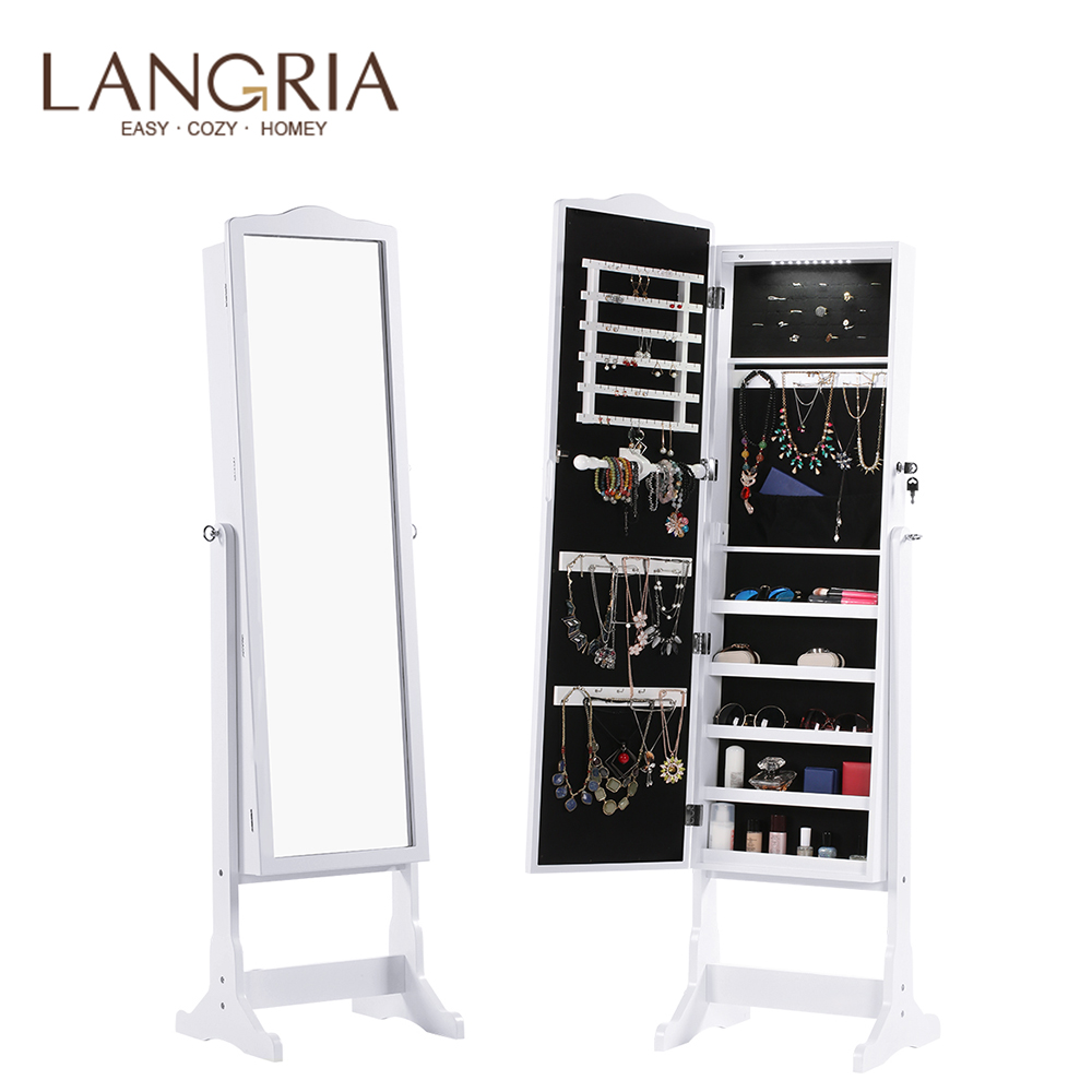 LANGRIA Free Standing Lockable Jewelry Cabinet Full-Length Mirrored Jewelry Armoire With LED Light 5 Shelves 3 Angle Adjustable