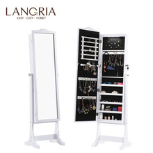 LANGRIA Free Standing Lockable Jewelry Cabinet Full-Length Mirrored Jewelry Armoire with LED Light 5 Shelves 3 Angle Adjustable(China)