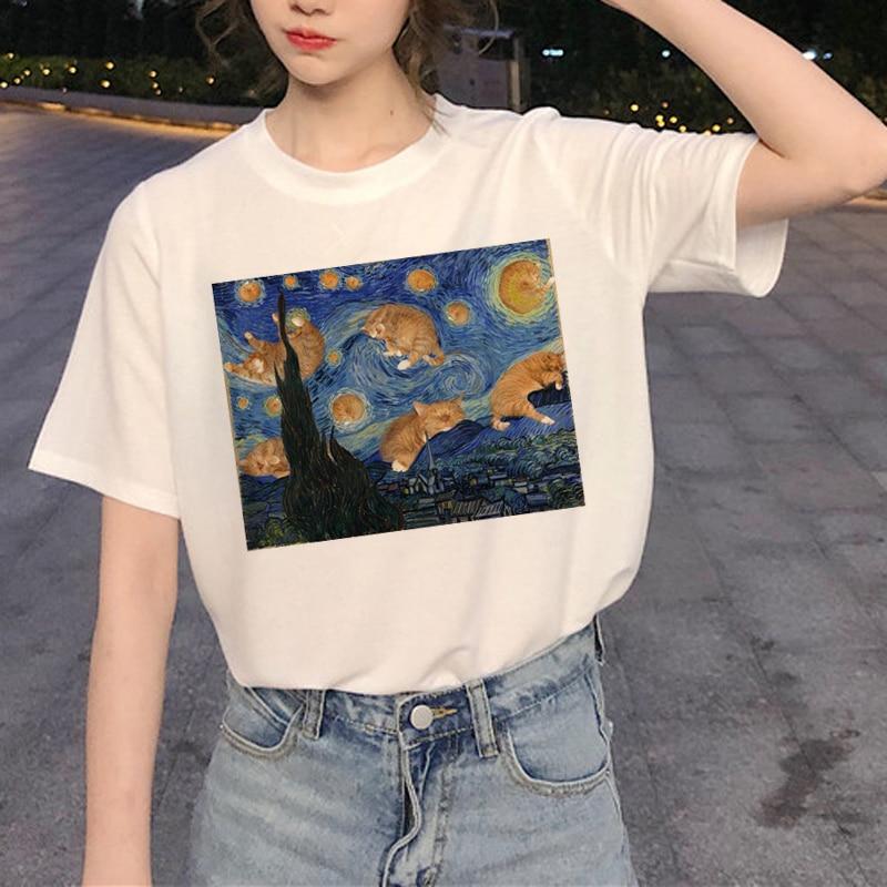 Kawaii Cat Graphic T Shirt Women Harajuku Ullzang Cute T-shirt Funny Cartoon Aesthetic 90s Tshirt Fashion Summer Top Tees Female