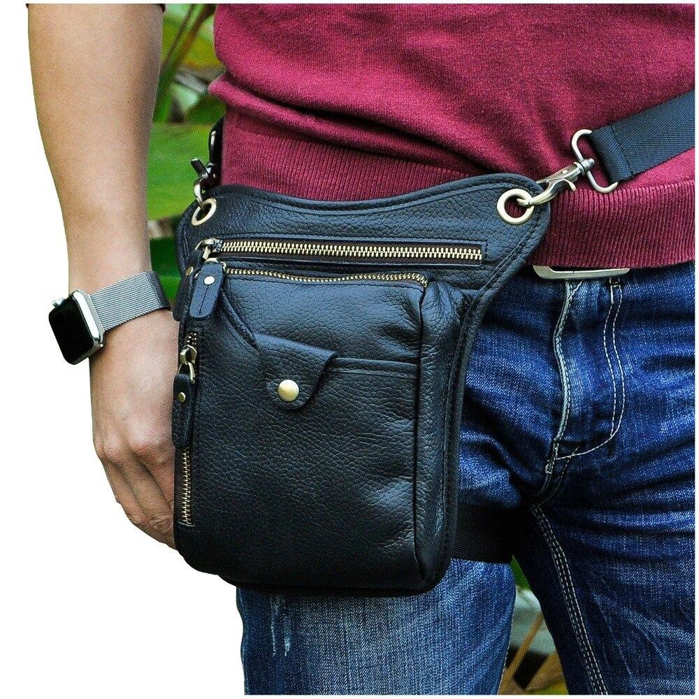 Top Quality Crazy Horse Real Leather Men Fashion Black Small Belt Pack Messenger Bag Waist Pack Drop Leg Bag Pouch 211-5-b